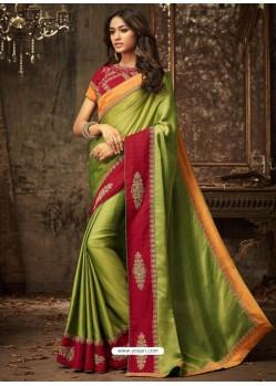 Parrot Green Embroidered Silk Designer Saree