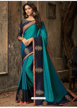 Turquoise Embroidered Silk Designer Saree