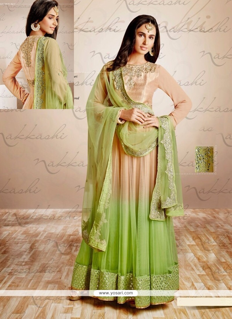 Beige And Green Shaded Net Anarkali Suit