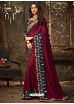 Maroon Embroidered Silk Designer Saree