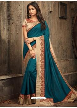 Teal Blue Embroidered Silk Designer Saree