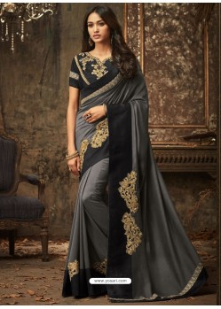 Dull Grey And Black Embroidered Silk Designer Saree