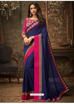Navy Blue And Fuchsia Embroidered Silk Designer Saree