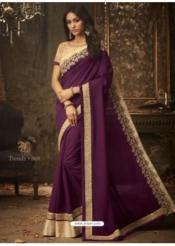 Deep Wine Embroidered Silk Designer Saree