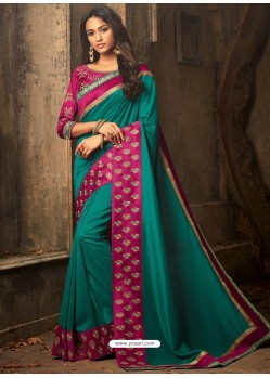 Teal Embroidered Silk Designer Saree