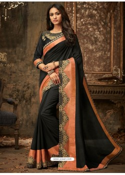 Black And Orange Embroidered Silk Designer Saree