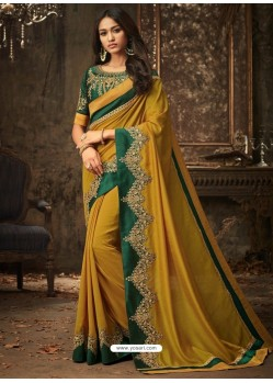 Mustard And Dark Green Embroidered Silk Designer Saree