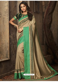Camel And Green Embroidered Silk Designer Saree