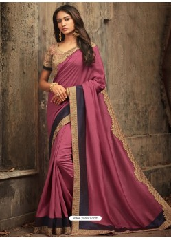 Hot Pink Embroidered Silk Designer Saree