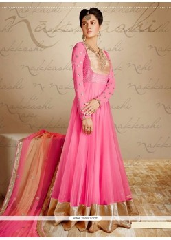 Beautiful Pink Georgette And Net Anarkali Suit