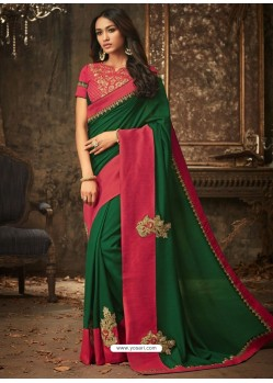 Dark Green And Fuchsia Embroidered Silk Designer Saree