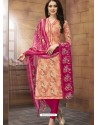 Light Orange And Medium Violet Poly Cotton Designer Printed Churidar Suit