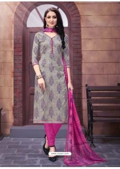 Dull Grey And Medium Violet Poly Cotton Designer Printed Churidar Suit