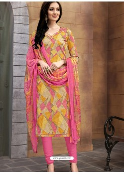 Incredible Multi Colour Poly Cotton Designer Printed Churidar Suit