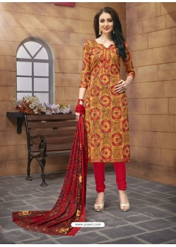 Ravishing Multi Colour Printed Poly Cotton Designer Churidar Suit