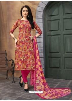Deep Wine And Multi Colour Printed Poly Cotton Designer Churidar Suit