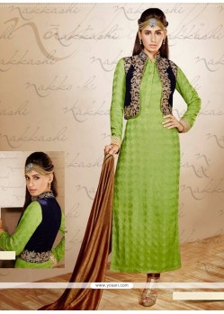 Modish Green Georgette Jacket Style Salwar Suit