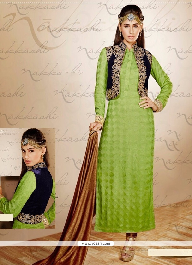 Modish Green Georgette Jacket Style Salwar Suit