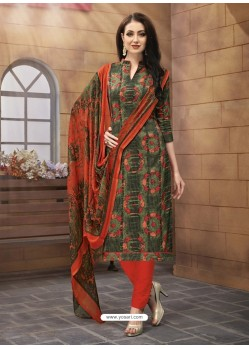 Tomato Red And Multi Colour Poly Cotton Designer Printed Churidar Suit
