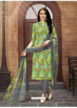 Green And Dull Grey Poly Cotton Designer Printed Churidar Suit