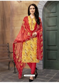 Yellow And Red Poly Cotton Designer Printed Churidar Suit