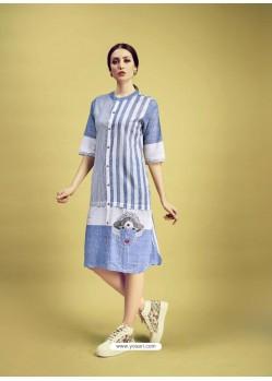 Blue And White Printed Cotton Designer Kurti