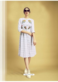 White Printed Cotton Designer Kurti