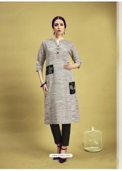 Grey Printed Cotton Designer Kurti