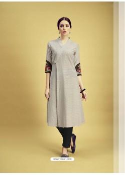 Taupe Printed Cotton Designer Kurti