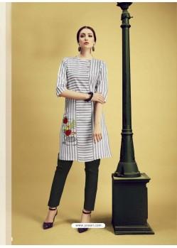 White And Grey Printed Cotton Designer Kurti