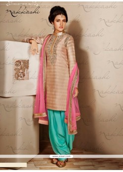 Charming Beige Bhagalpuri Silk Punjabi Suit