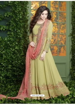 Green Embroidered Faux Georgette Designer Anarkali Suit