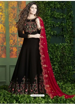 Black Embroidered Faux Georgette Designer Anarkali Suit