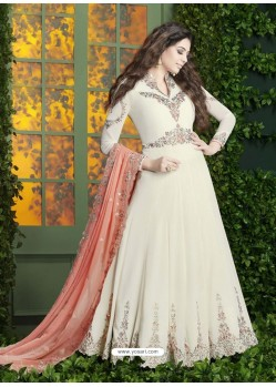 Off White Embroidered Faux Georgette Designer Anarkali Suit