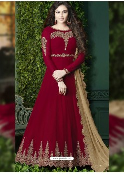 Maroon Embroidered Faux Georgette Designer Anarkali Suit