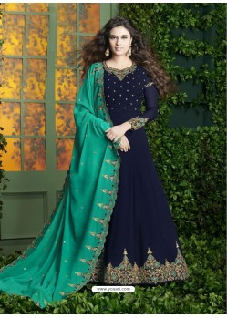 Navy Blue Embroidered Faux Georgette Designer Anarkali Suit