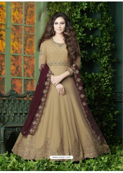 Camel Embroidered Faux Georgette Designer Anarkali Suit