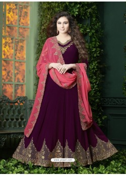 Deep Wine Embroidered Faux Georgette Designer Anarkali Suit