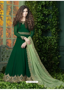 Dark Green Embroidered Faux Georgette Designer Anarkali Suit