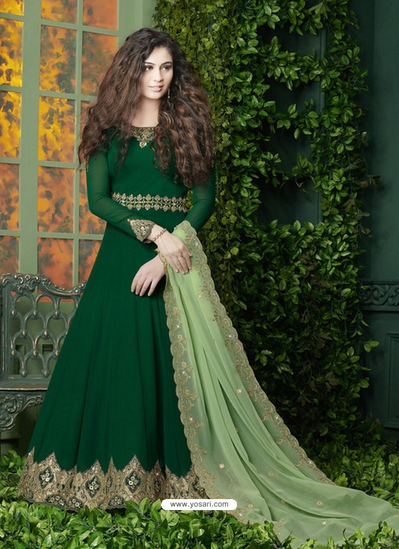 9803cd9fff Buy Dark Green Embroidered Faux Georgette Designer Anarkali Suit ...