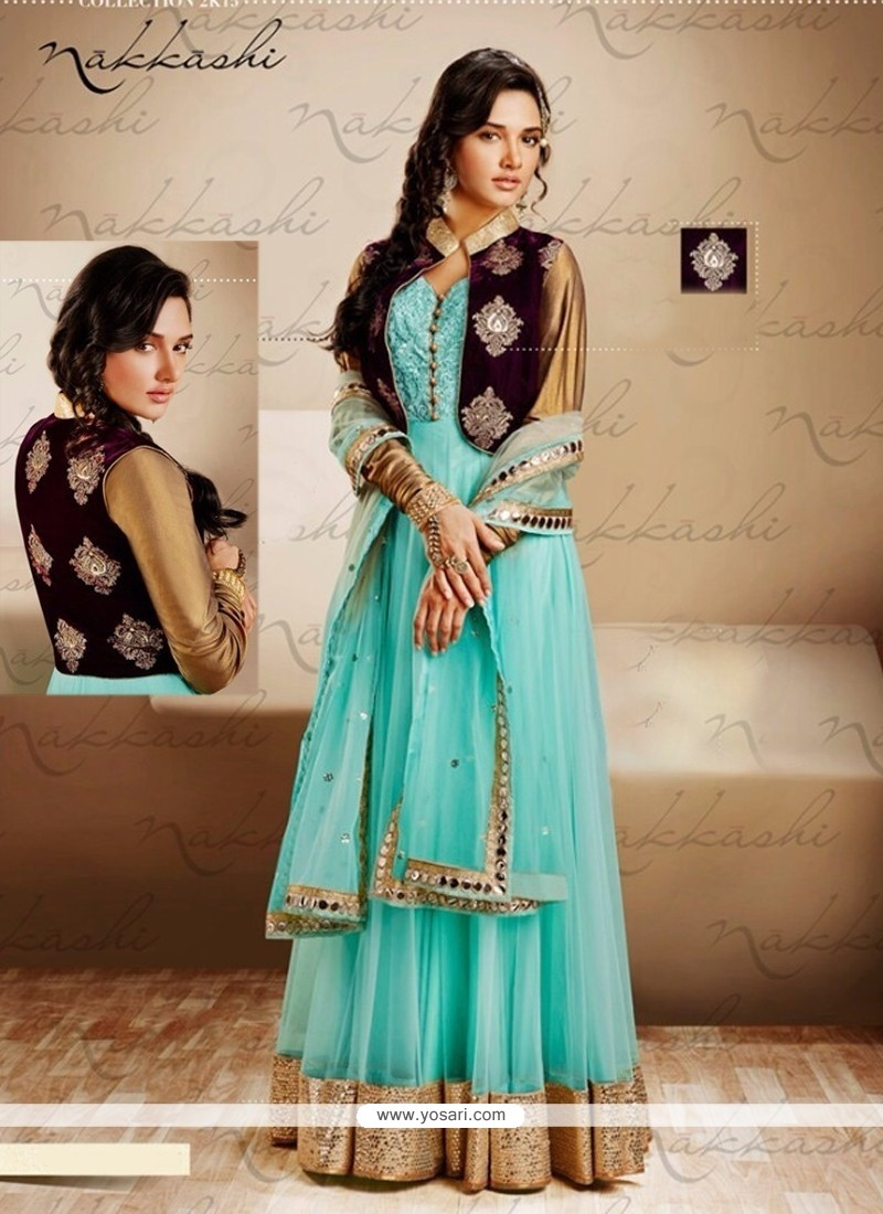 Turquoise Blue Net Jacket Style Anarkali Suit