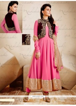 Glorious Pink Art Silk Jacket Style Anarkali Suit
