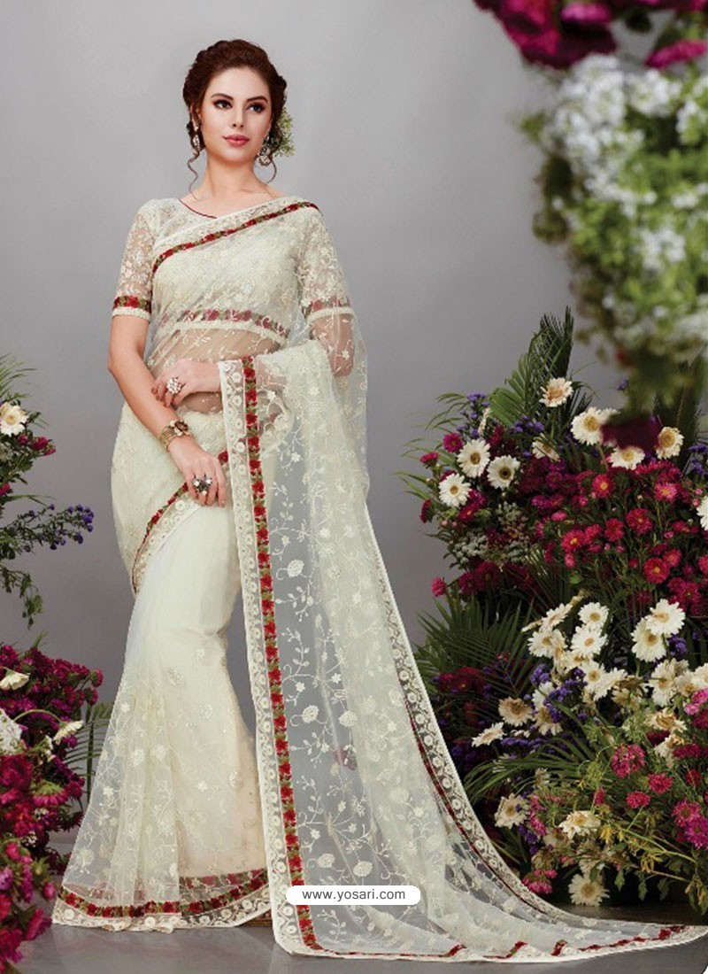 93d2d44d5c8 Buy Off White Net Designer Embroidered Party Wear Saree