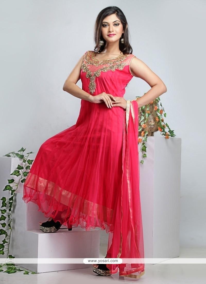 Simplistic Pink Net Anarkali Suit