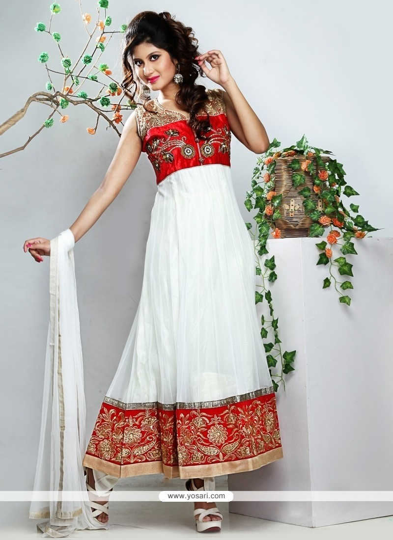 Elite White Net Anarkali Suit