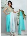 Turquoise Blue And White Net Anarkali Suit