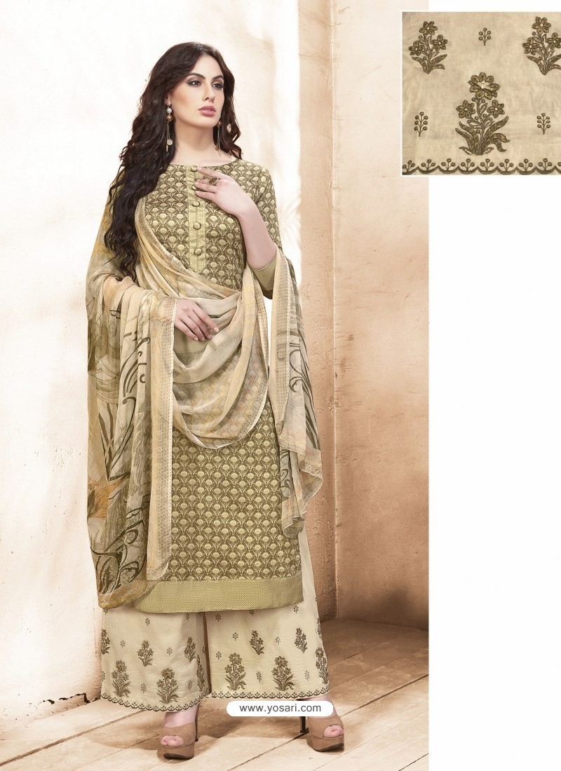 c924dce042 Buy Beige Pure Silk Satin Digital Printed And Embroidered Palazzo ...