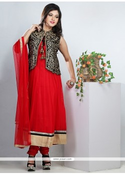 Tantalizing Red Net Anarkali Suit