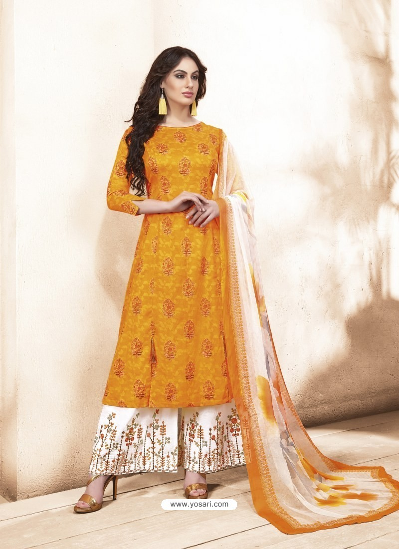 e445467c103 Buy Mustard Pure Silk Satin Digital Printed And Embroidered Palazzo ...