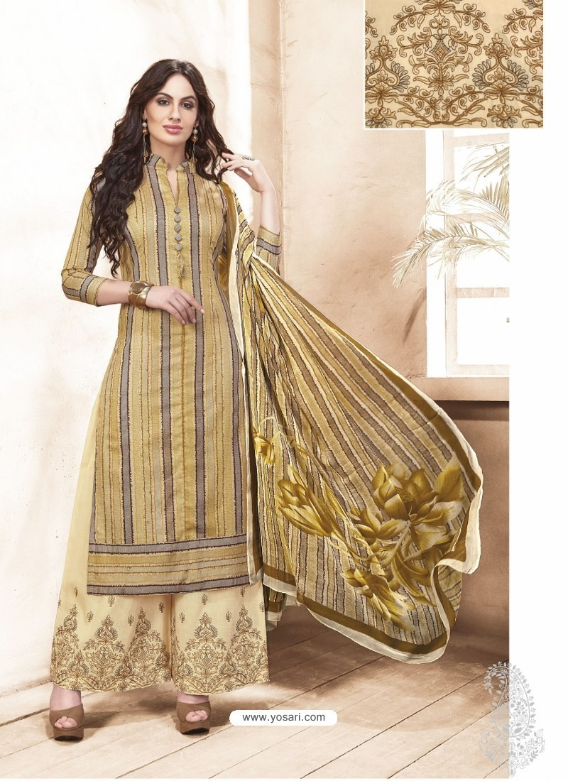 713012731ec Pretty Beige Pure Silk Satin Digital Printed And Embroidered Palazzo Suit